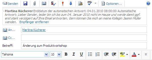Die Exchange-MailTipps weisen den Nutzer bereits vor dem Senden einer E-Mail auf Besonderheiten hin.