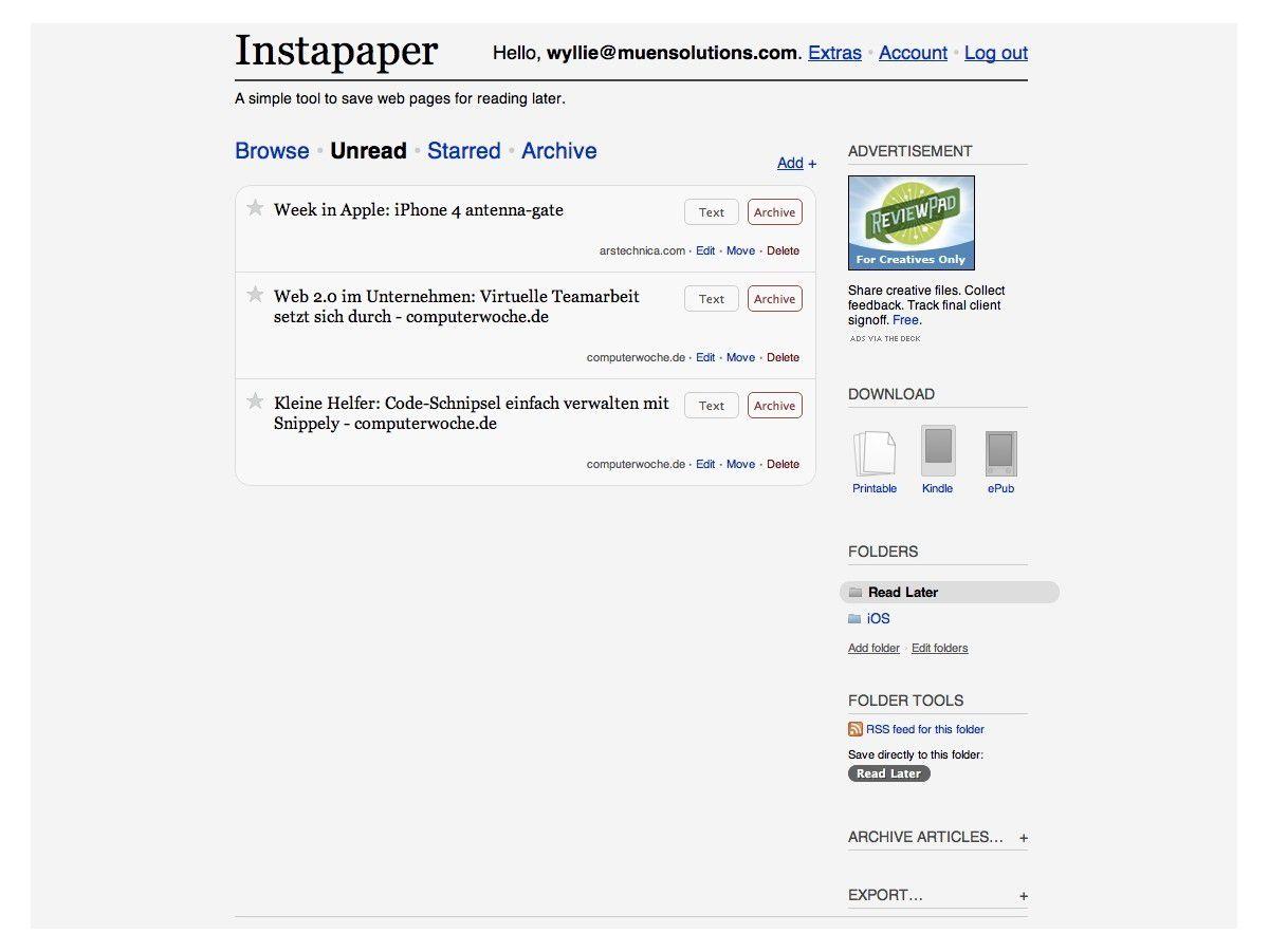 Kleine Helfer: Instapaper sammelt Lieblingsartikel im Web ...