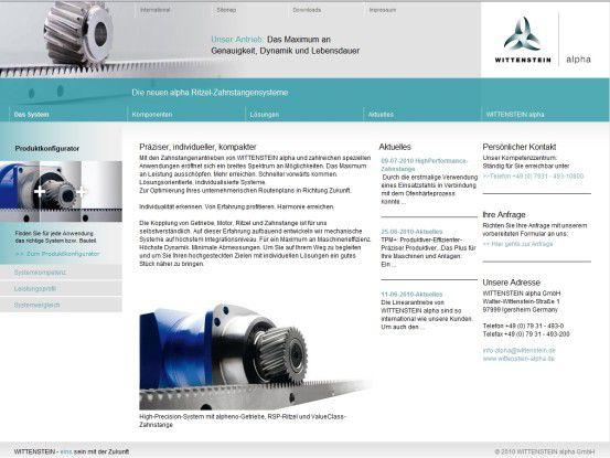 Der neue, auf SharePoint 2010 basierende Web-Auftritt von Wittenstein alpha.
