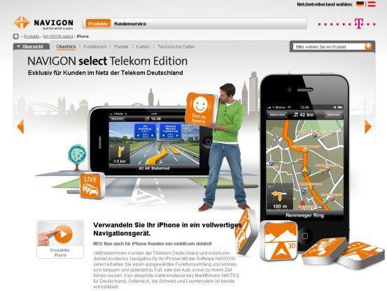 Auf seiner Website wirbt Navigon mit dem Telekom-exklusiven Select-Angebot.