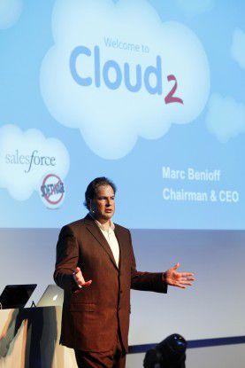 """Marc Benioff, CEO und Chairman von Salesforce.com, sang das """"Hohe Lied"""" des Cloud Computing."""