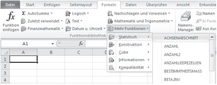 Funktionskategorien werden im Menüband angezeigt.