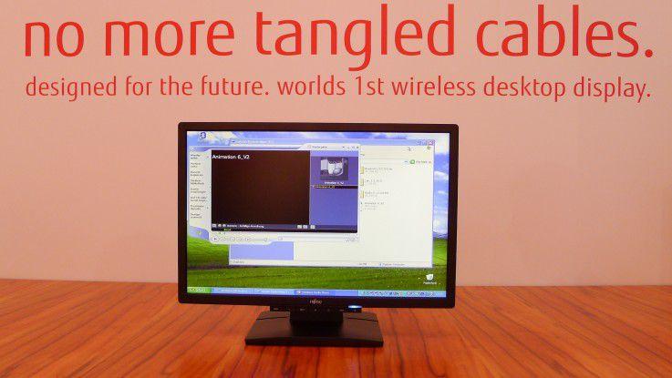 Noch ist der kabellose Monitor von Fujitsu auf der CeBIT eine Design-Studie. Er soll aber dieses Jahr noch auf den Markt kommen.