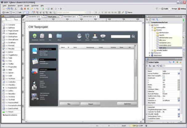 Mit XDEV 3 lassen sich Java-Oberflächen wie mit einem Grafikprogramm entwerfen. Java-Know-how braucht man dazu nicht.