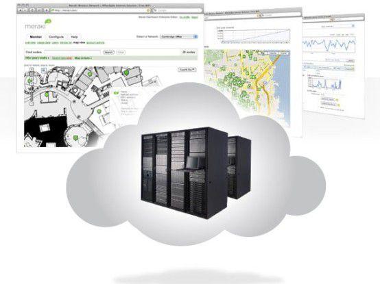 Das Konzept: Der WLAN-Controller sitzt zentral in der Cloud bzw. dem Meraki-REchenzentrum.