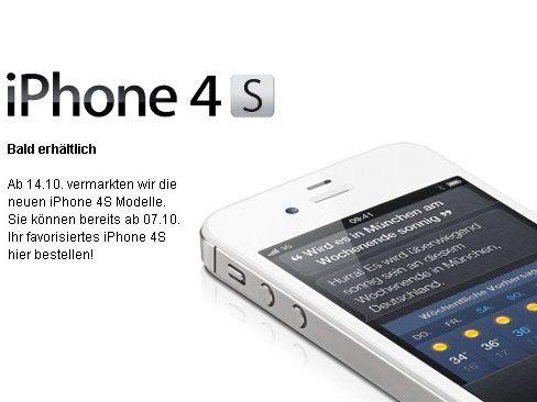 Ankündigung auf der Telekom-Website