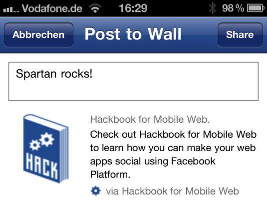 """Auch auf dem iPhone steht die eigene Facebook-Anwendung (hier: """"Hackbook"""") jetzt sowohl im Browser als auch innerhalb der Facebook-App zur Verfügung."""