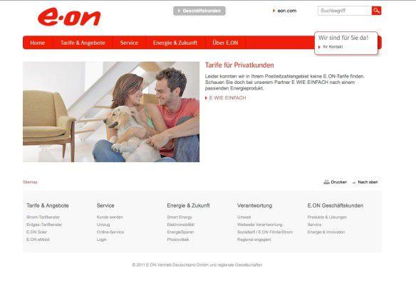 Der Tarifrechner schickt Interessenten zum Neubeginn auf die Partnerseite.