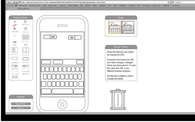 UI-Skizzen fürs iPhone mit iPhone Mockup.