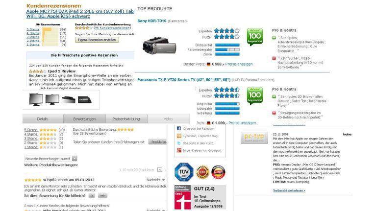 Ob Amazon, alaTest, Cyberport oder Alternate (im Uhrzeigersinn von oben links): Ohne umfangreiche Kundenbewertungen kommt kein moderner Onlineshop mehr aus.