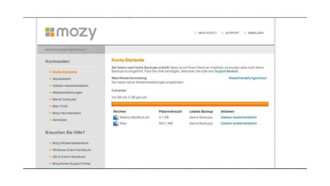 Mozy: Browser
