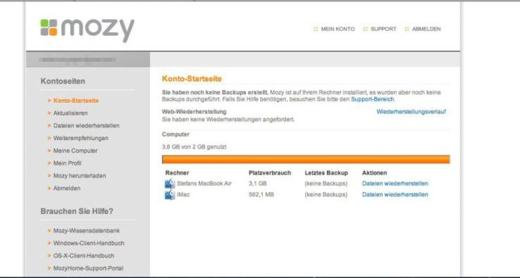 Im Browser sind nur die angemeldeten Rechner zu sehen. Die Datenwiederherstellung lässt sich leicht starten.