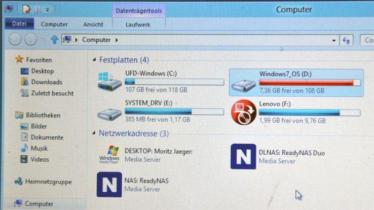 Kaum ein Unterschied: Windows 8, gestartet von einer externen Festplatte.