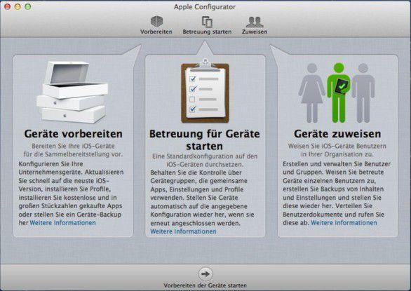 """Apple Configurator ist in die Bereiche """"Vorbereiten"""", """"Betreuung starten"""" und """"Zuweisen"""" unterteilt"""