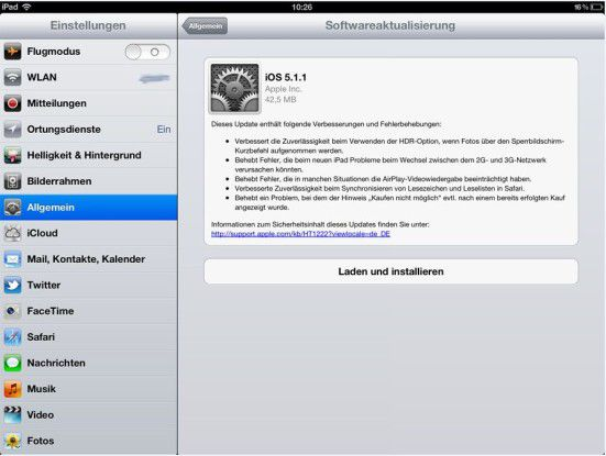 iOS 5.1.1 bring zahlreiche Verbesserungen und Bugfixes.