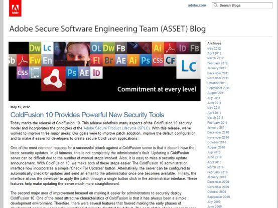 Das Adobe Secure Software Engineering Team - kurz ASSET - informiert in einem eigenen Blog über Neuigkeiten.