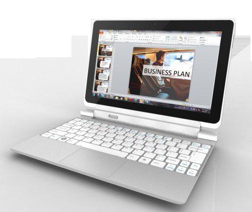 Die Tastatur kann auch nach hinten weggeklappt werden.