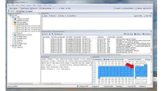 Wie ein offenes Buch beziehungsweise wie eine Postkarte: Der Inhalt einer normalen E-Mail wird im Klartext über das Netz verschickt und kann mit Hilfe von Programmen wie hier dem Microsoft Network Monitor leicht mitgelesen werden.