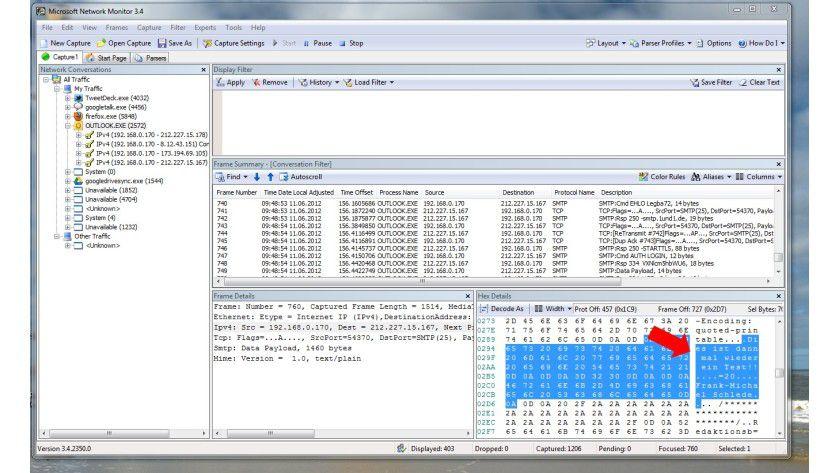 Wie ein offenes Buch beziehungsweise wie eine Postkarte: Der Inhalt einer normalen E-Mail wird im Klartext über das Netz verschickt und kann mithilfe von Programmen wie hier dem Microsoft Network Monitor leicht mitgelesen werden.