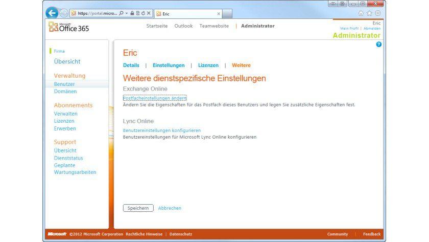 Anlaufstelle: Über die Weboberfläche kann ein Administrator Alias-Adressen für einen Benutzer erstellen, damit dieser E-Mails unter mehreren Adressen erhalten kann - unter Verwendung eines einzigen kostenpflichtigen Office 365-Accounts.