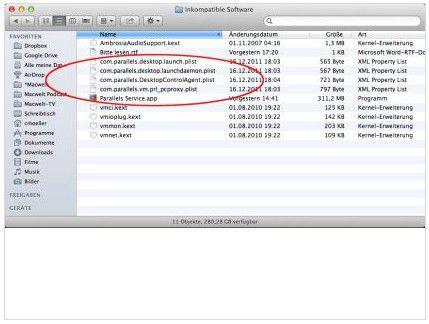 Parallels Desktop vor Version 7.0.15055 wird von OS X Mountain Lion deaktiviert.