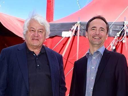 Wollen innovatives Denken bei SAP fördern: Hasso Plattner und Jim Hagemann Snabe beim fünfjährigen Jubiläum der D-School.