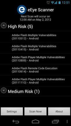 Der eEye Scanner läuft lokal auf dem Smartphone und meldet dem Benutzer, welche Schwachstellen vorhanden sind und wie kritisch dies zu bewerten ist.