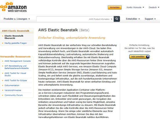 AWS Elastic Beanstalk eignet sich derzeit vor allem für kleine Entwicklungsteams.