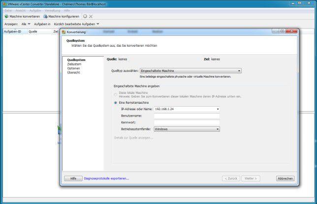 Dank des Assistenten ist die Virtualisierung von x86/x64-Rechnern nicht schwer.