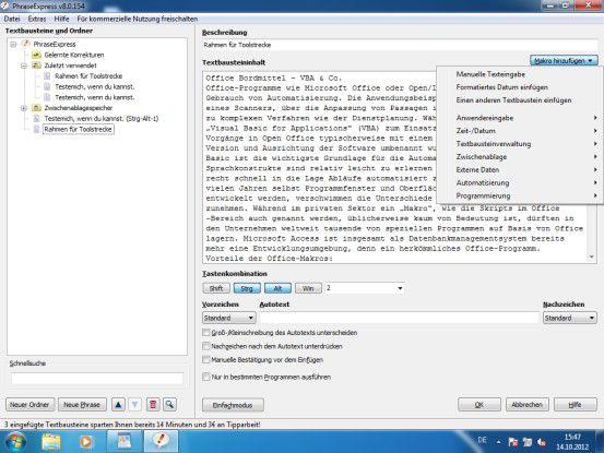 PhraseExpress automatisiert die Texterstellung in allen Windows-Applikationen. Für Privatanwender sogar kostenfrei.