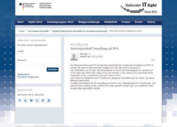 Auf der Website des Nationalen IT-Gipfels können Bürger Fragen loswerden – hier zum Beispiel zum Thema IP V6.