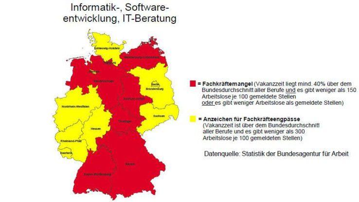 In rot markierten Bundesländern herrscht Fachkräftemangel.
