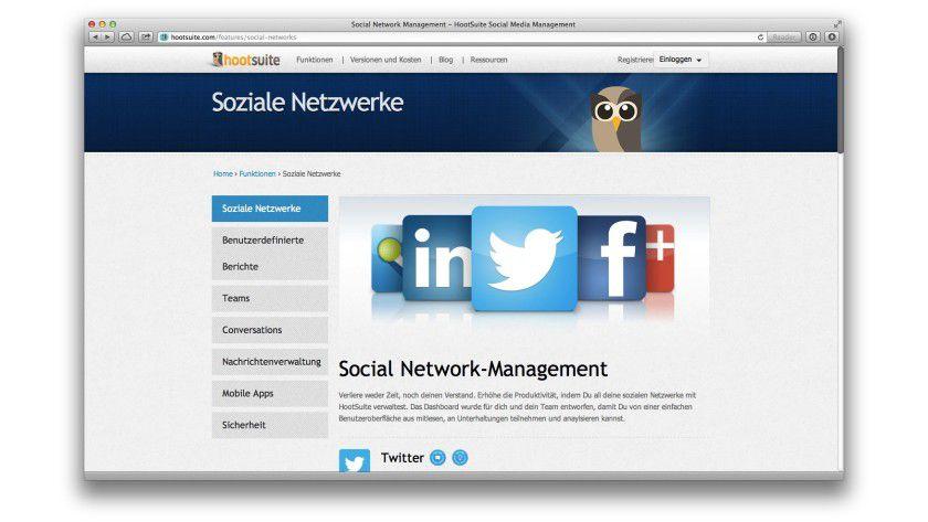 Verbindungsglied: Hootsuite verwaltet Ihre Firmenpräsenz auf den verschiedenen sozialen Netzwerken.