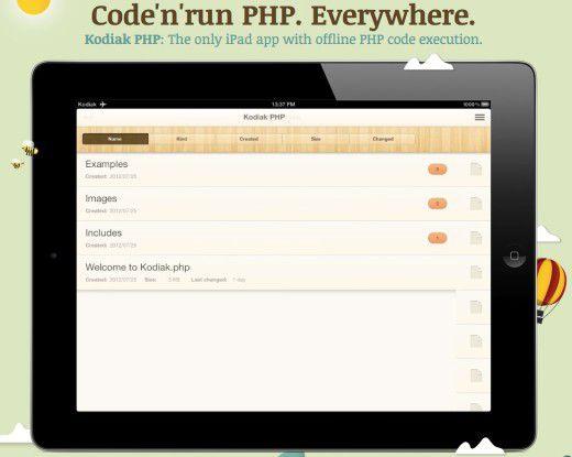 """PHP-Entwicklung auf dem iPad mit """"Kodiak PHP""""."""