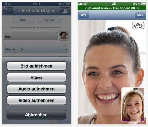 Mit Features wie Video-Chat wollen die Carrier Joyn als Gegenentwurf zu OTT-Diensten populär machen.
