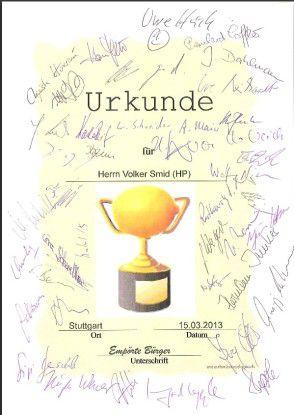 Ob sich Volker Smid diese Urkunde wohl im Büro aufhängt?