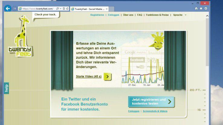 """Aus der """"hohen Sicht"""" der Giraffe: TwentyFeet bietet dem Anwender eine Übersicht über seine Tätigkeiten im Netz – dabei steht ihm die Auswertung eines Twitter- und eines Facebook-Kontos kostenlos zur Verfügung."""