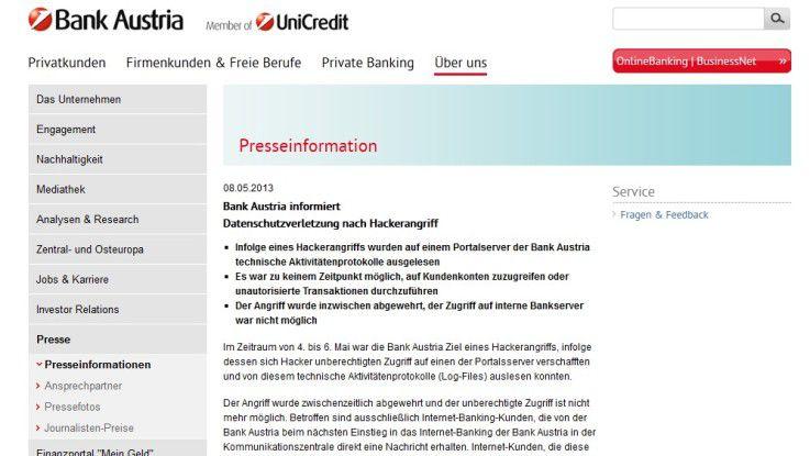 Bank Austria informierte erst heute über die Attacke.
