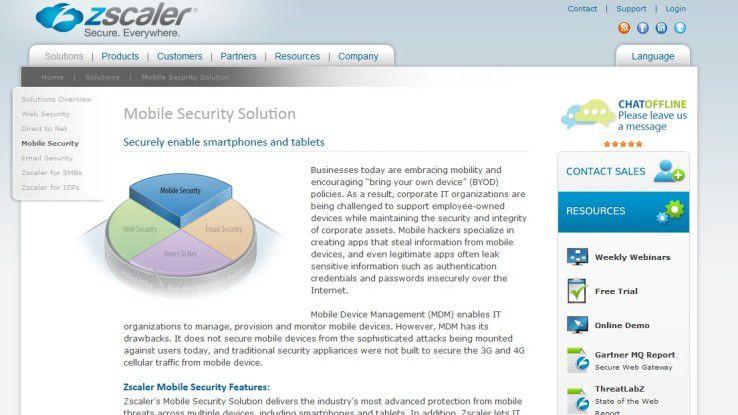 Zscaler bringt Mobile Security als Cloud-Service.