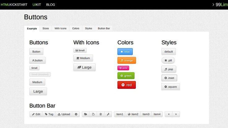 Typische Buttons und Grafiken können bei HTML Kickstart einfach in die eigene Website eingebaut und angepasst werden.