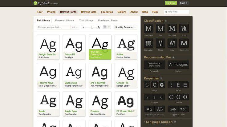 Die Web-Oberfläche von Typekit hilft beim schnellen Durchstöbern des Angebots an Schriften.