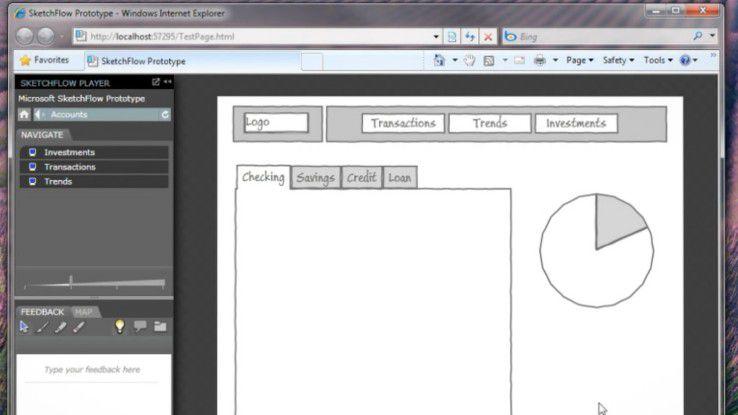Sketchflow zeichnet Flussdiagramme von Applikationen, die sich ins Silverlight-Format exportieren lassen.