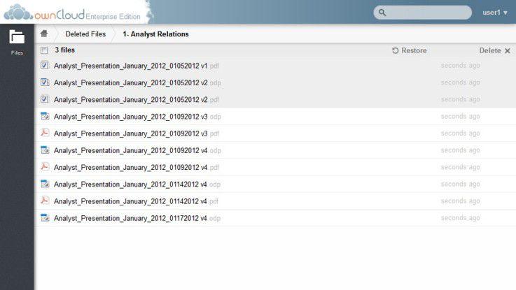 Gelöschte Dateien und Ordner lassen sich bei Bedarf wiederherstellen.