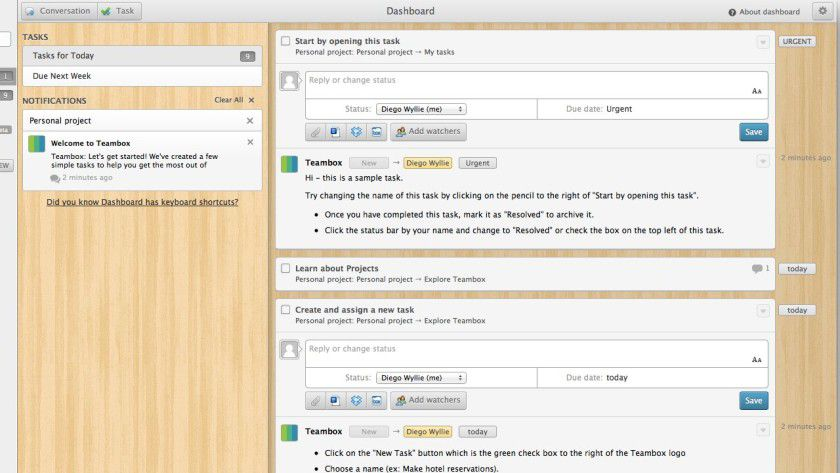 Aufgaben lassen sich an andere Team-Mitglieder delegieren und bequem kommentieren. Zudem können Dokumente zu einer Aufgabe hinzugefügt werden.