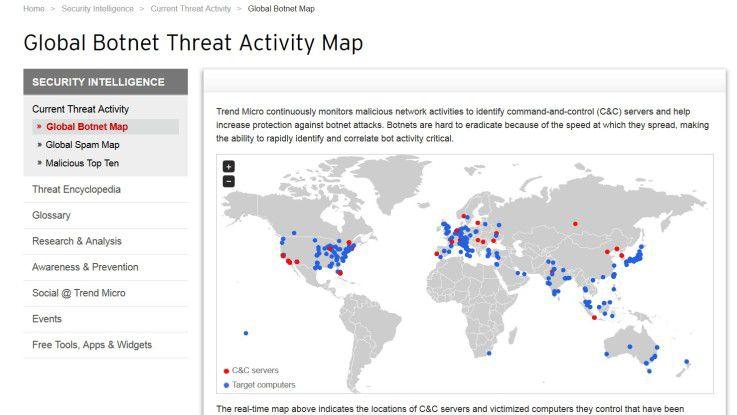 Die Global Botnet Threat Activity Map von Trend Micro zeigt anschaulich, von wo aus Botnet-Attacken starten und bietet Echtzeitbilder für die Mitarbeiterunterweisung zu Botnet-Gefahren.