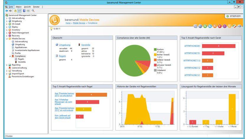 Einheitliche Bedienung: Die MDM-Funktionen sind nahtlos in das baramundi Management Center integriert.