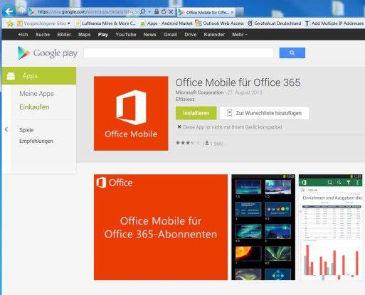Glaubt man dem Play Store, dann läuft Office nicht auf Android-Tablets,