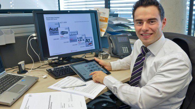 Wirtschaftsinformatiker Benedikt Windorfer bewarb sich schon früh um ein Praktikum bei Audi und entwickelt dort nun neue Apps.