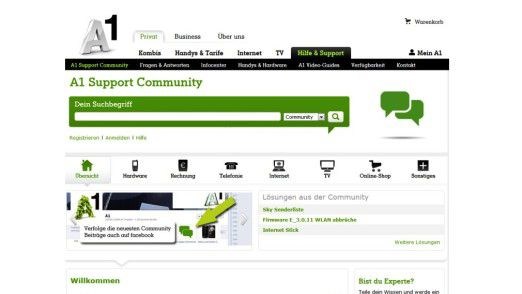 Die Community-Web-Site des österreichischen Mobilfunk-Anbieters A1: Kunden helfen Kunden.