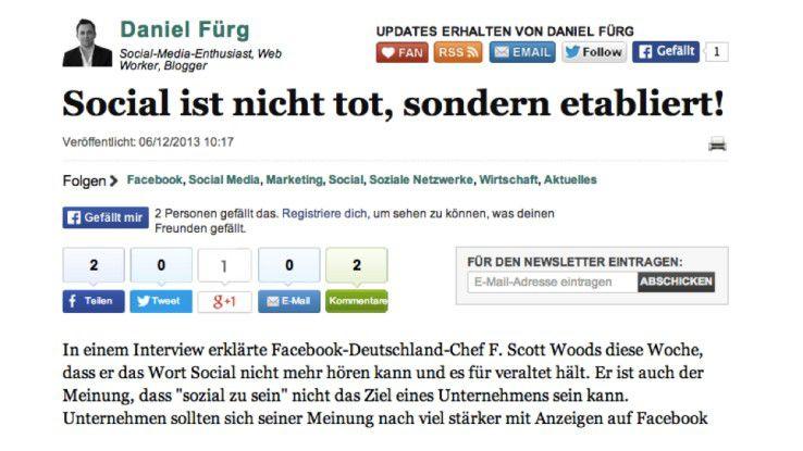 """Daniel Fürg bemüht auf der Web-Seite der deutschen Huffington Post um die Ehrenrettung des Begriffs """"Social""""."""